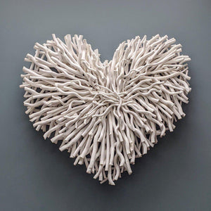 Twig driftwood white heart wall art-heart deco
