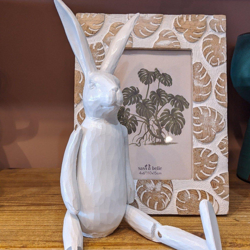 White Articulated Rabbit-heart deco