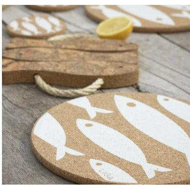 Liga Eco White Fish Cork Placemat and Coaster - heart deco