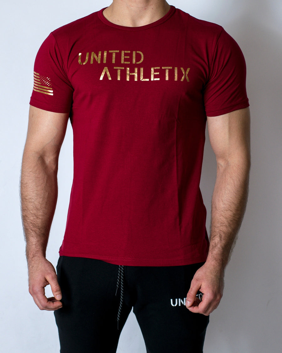 Performance Tee - Maroon w/ Solid Gold Print
