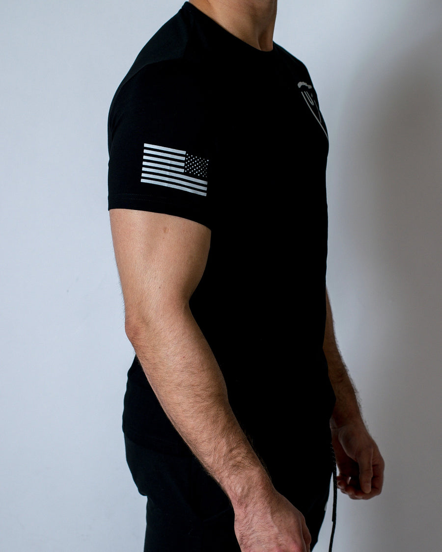 Performance Tee - Jet Black w/ Logo