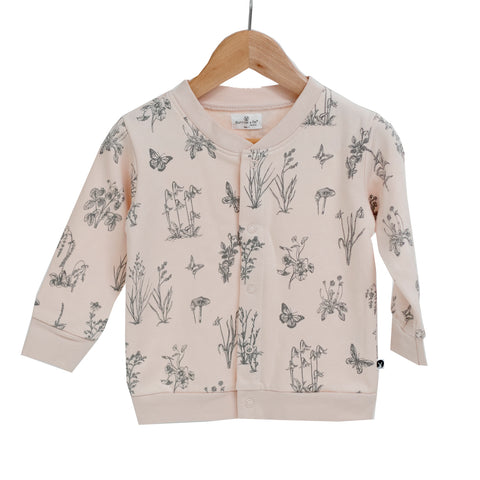 Essentials Fleece Cardigan - Blush-With Meadow Print