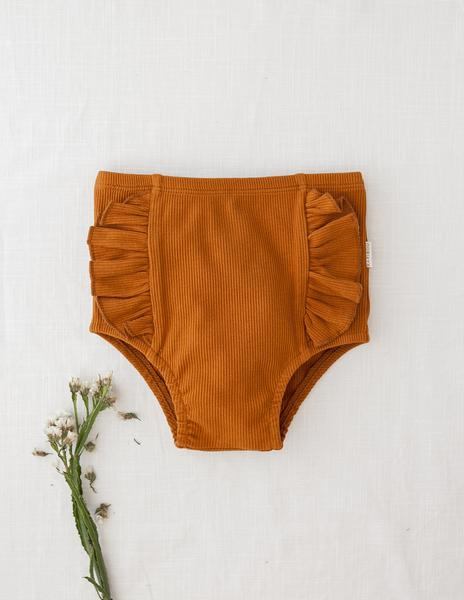 Georgia Ribbed Ruffle Bloomers - Acorn