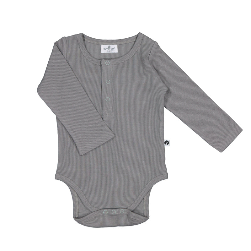 Long Sleeve Rib Henley Body Suit - Various colours
