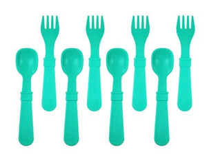 RE-PLAY FORKS AND SPOONS (4 OF EACH - NO RETAIL PACKAGING) - AQUA