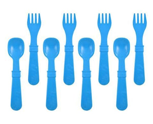RE-PLAY FORKS AND SPOONS (4 OF EACH - NO RETAIL PACKAGING) - SKY BLUE