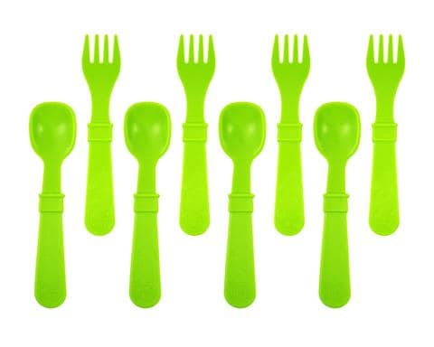RE-PLAY FORKS AND SPOONS (4 OF EACH - NO RETAIL PACKAGING) - GREEN