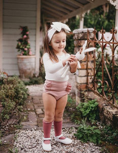 Georgia Ribbed Ruffle Bloomers - Blush