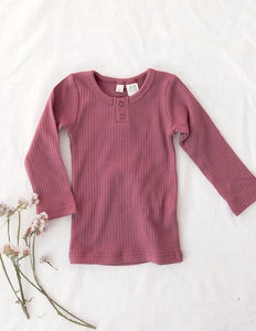 Willow Long Sleeve Henley Cotton Top - Garden Rose