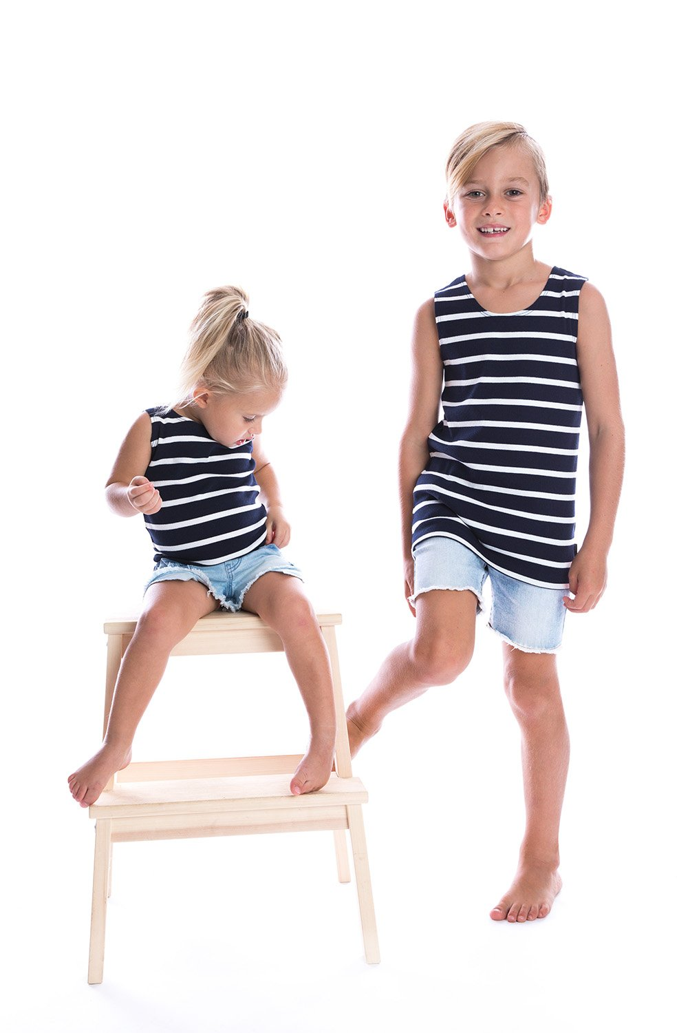 Navy + White ribbed singlet