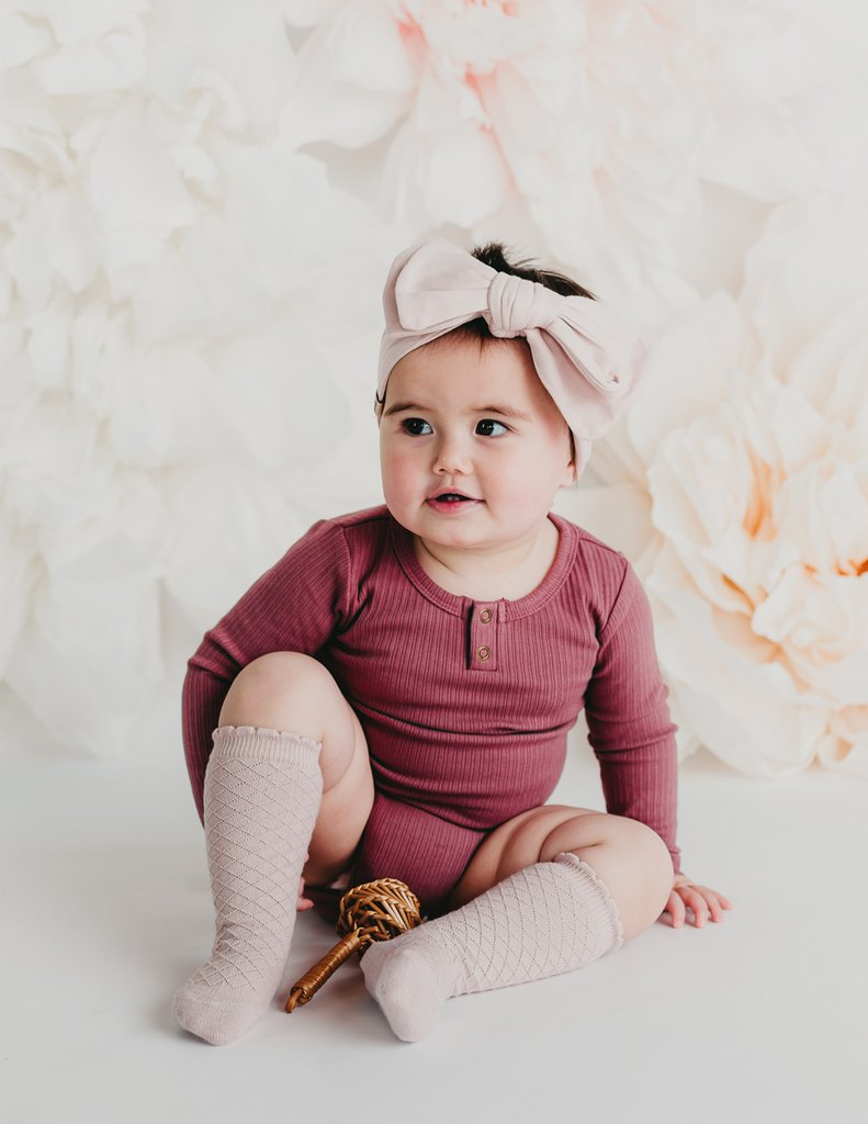 Willow Long Sleeve Cotton Bodysuit - Garden Rose