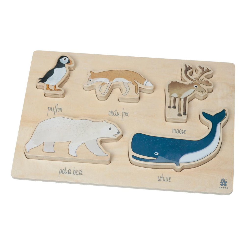 Puzzle in legno con figure di animal artici