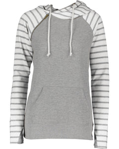 striped double hood pullover