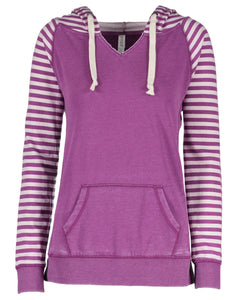 striped chalk fleece pullover hood