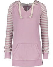 Load image into Gallery viewer, striped chalk fleece pullover hood
