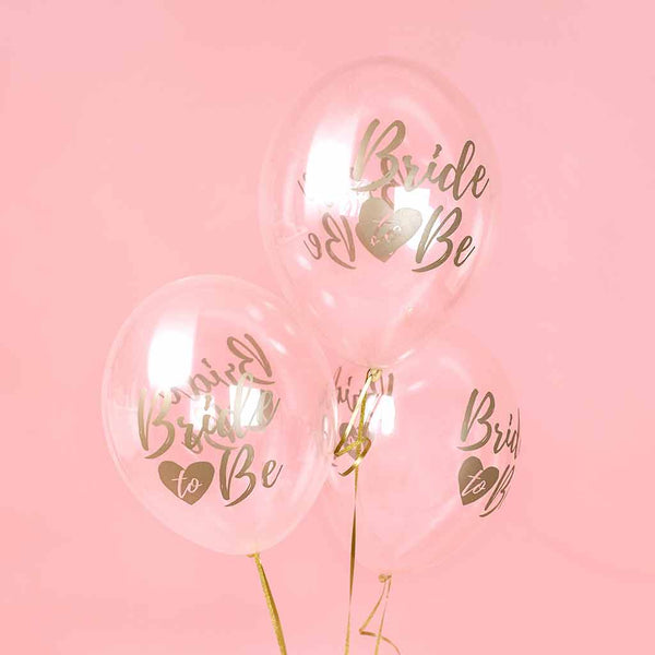 "Ballon ""Bride to Be"" Rosa 6 pak"