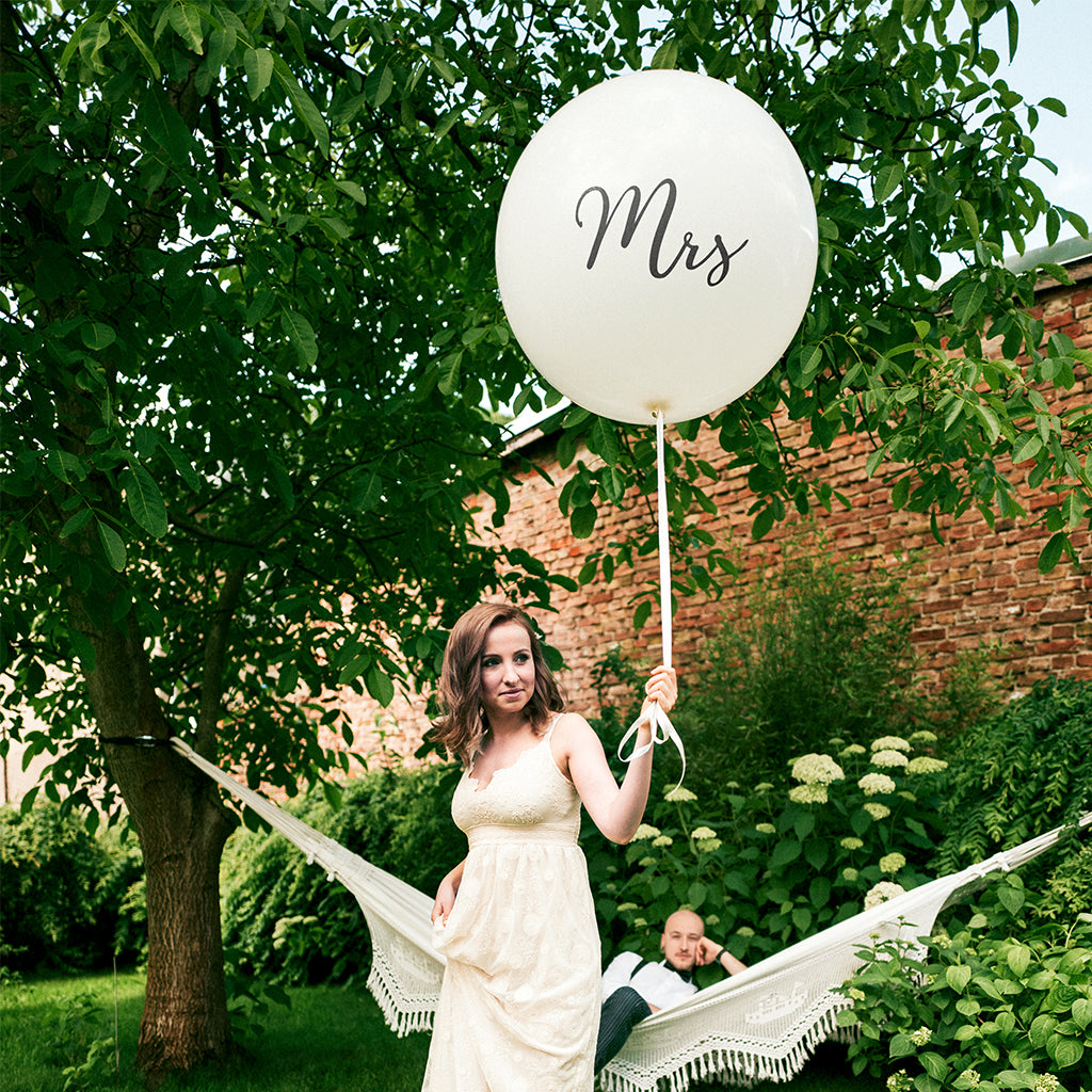 "Ballon sort tryk ""Mrs"" Large"