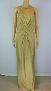 Issa gold long drape sleeveless evening dress size UK12/US8