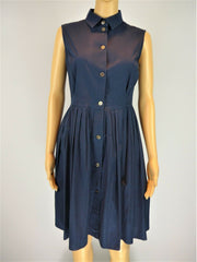Paulie navy cotton blend sleeveless dress size UK12/US8
