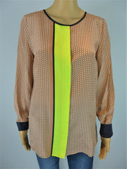 Essentiel pink & yellow print long sleeve blouse size UK12/US8