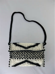Antonello Tedde black & white 100% cotton small handbag