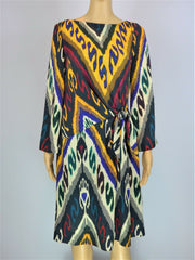 Etro multicoloured print drape long sleeve dress size UK12/US8
