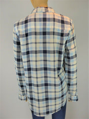 Equipment blue check long sleeve shirt size UK8/US4