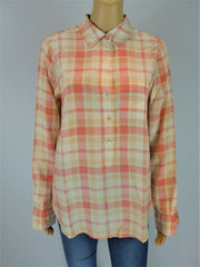Equipment pink & peach check long sleeve shirt size UK8/US4