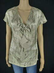 Etro beige silk blend drape short sleeve top size UK12/US8