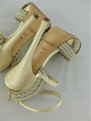 Ralph Lauren cream & silver satin & chain open toe heels size UK3/US5