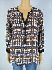 Sack`s brown & blue print long sleeve top size UK10/US6