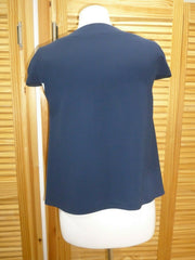 Peter Pilotto navy & blue print short sleeve top size UK8/US4