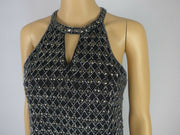 Parker black studded 100% silk sleeveless dress size UK12/US8