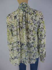 Pyrus multicoloured 100% viscose long sleeve blouse size UK8/US4