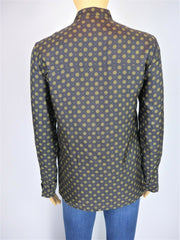 Golden Goose Deluxe black & yellow 100% silk long sleeve shirt size UK6/US2