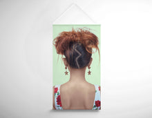 Load image into Gallery viewer, Salon Banner - Woman in High Topknot with Slight Messy Tease