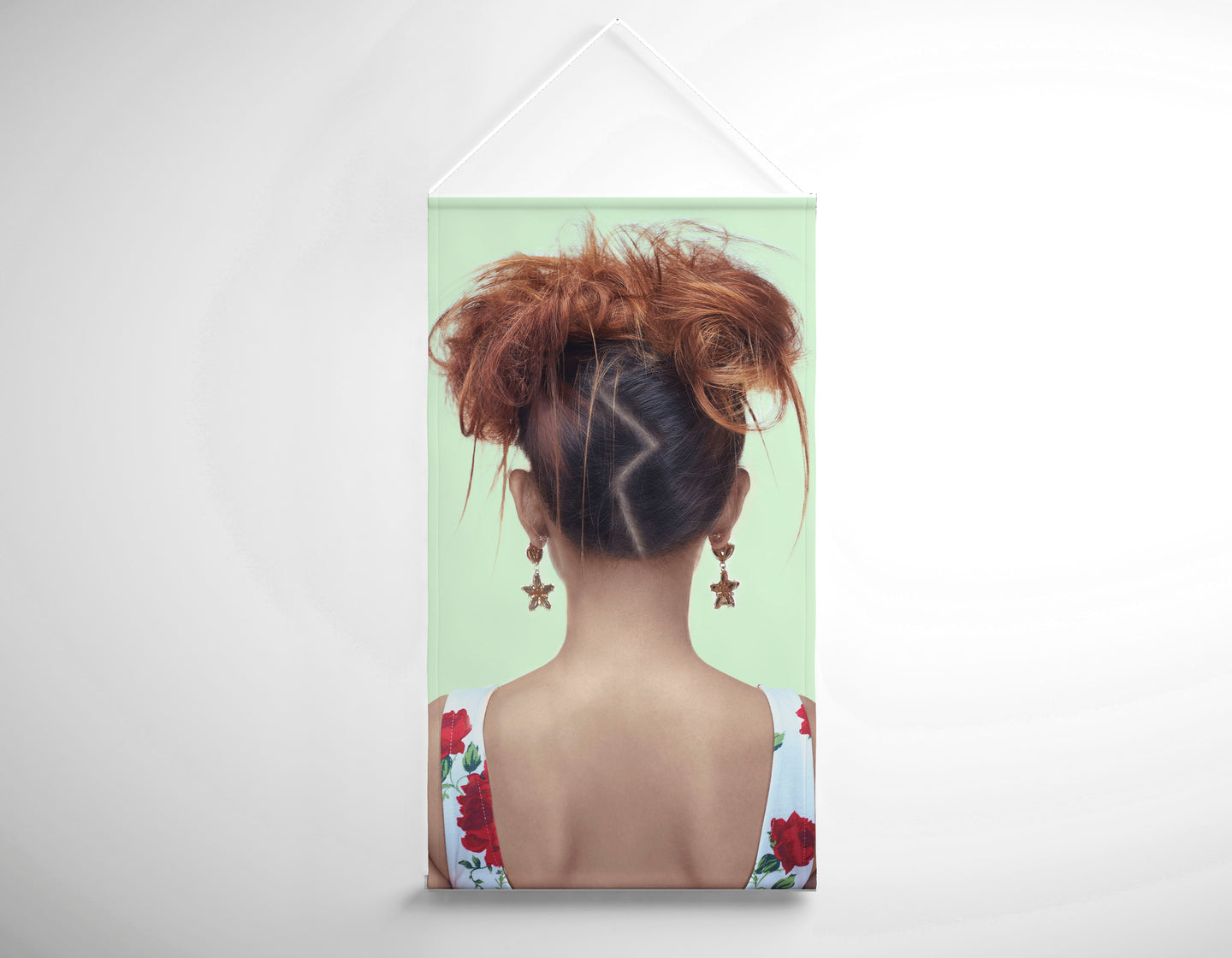 Salon Banner - Woman in High Topknot with Slight Messy Tease