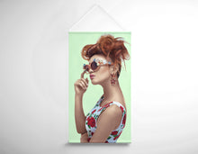Load image into Gallery viewer, Textile Salon Banner - Woman in High Topknot with Slight Messy Tease