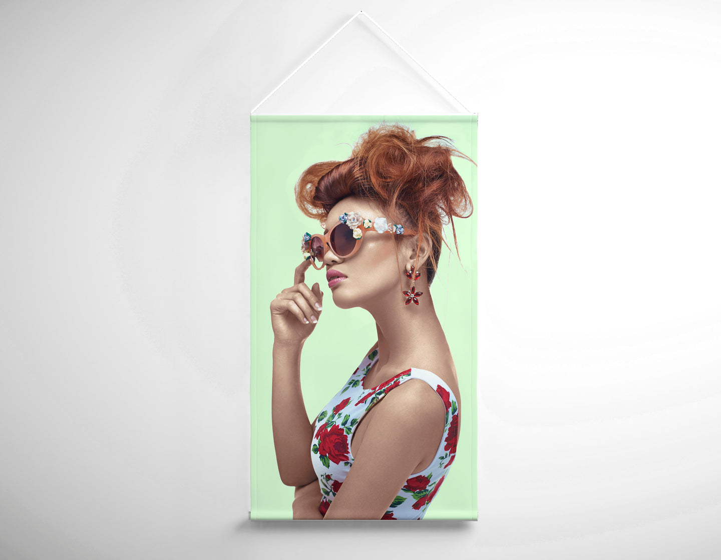 Textile Salon Banner - Woman in High Topknot with Slight Messy Tease