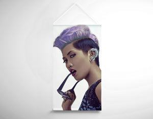 Salon Banner - Woman with Short Hairstyle in Purple Shade Hair Color