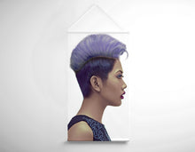 Load image into Gallery viewer, Salon Banner - Woman with Short Hairstyle in Purple Shade Hair Color