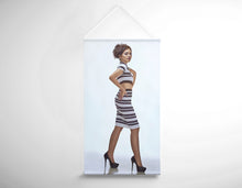 Load image into Gallery viewer, Salon Banner - Woman with Messy Side Chignon in Striped Attire