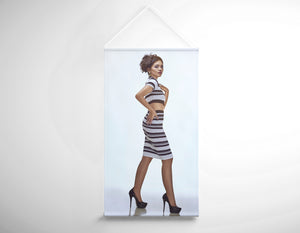 Salon Banner - Woman with Messy Side Chignon in Striped Attire