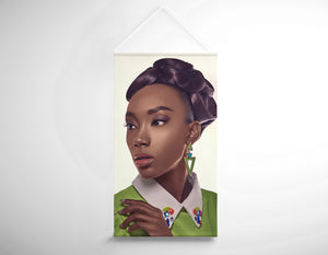 Textile Salon Banner - Black Woman in Updo with Big Curls - Bound for Style