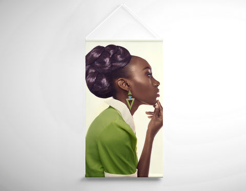 Textile Salon Banner - Dark Skinned Woman in Updo with Big Curls