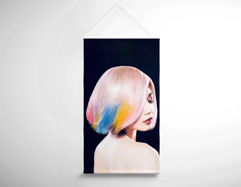 Textile Salon Banner - Woman in Pink, Blue, Yellow Unicorn Hair