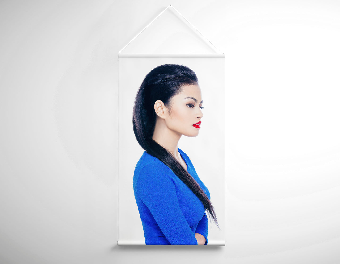 Salon Banner - Woman with Long Straight Hair in Blue Dress