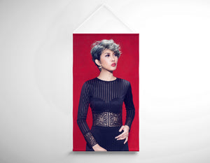 Salon Banner - Woman with Ash Gray Haircolor and Big Curls