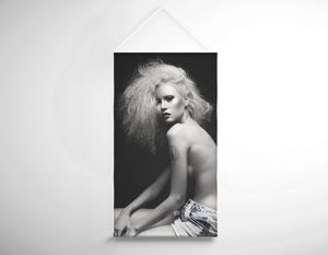 Salon Banner - Woman Topless in Denim Shorts and Messy Teased Hair