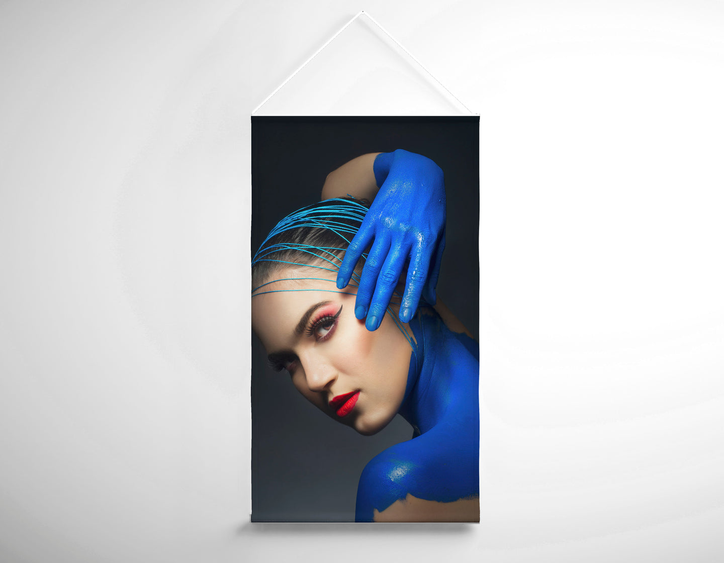 Salon Banner - Woman in Blue Body Paint and Red Makeup